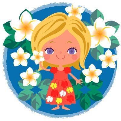 プルメリアの花女の子ハワイアンガールのイラスト 花と子供の