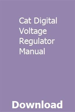 Cat Digital Voltage Regulator Manual | etherarta