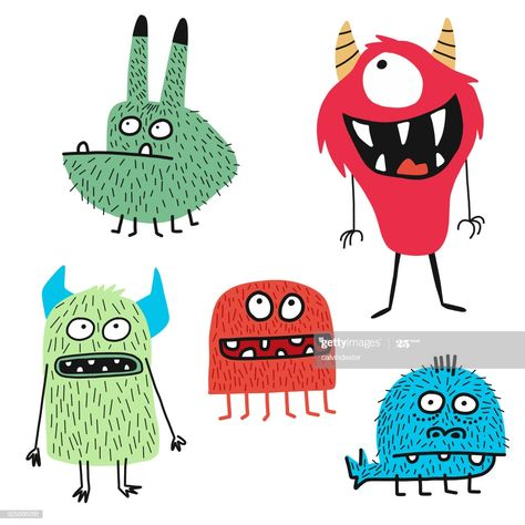 Vector illustration of some hand drawn cute and colorful monsters for...