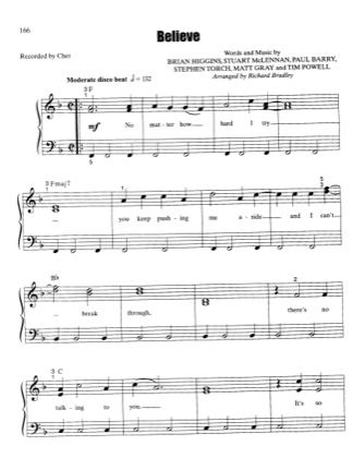 Believe By Cher Piano Sheet Music Sheetdownload With Images