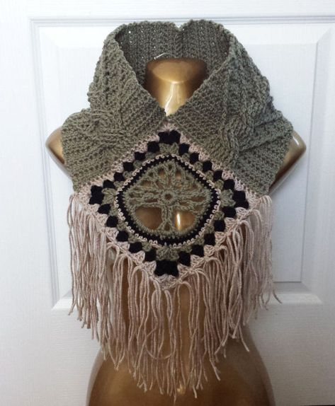Tree of Life Fringed Cowl CROCHET PATTERN cable stitch post