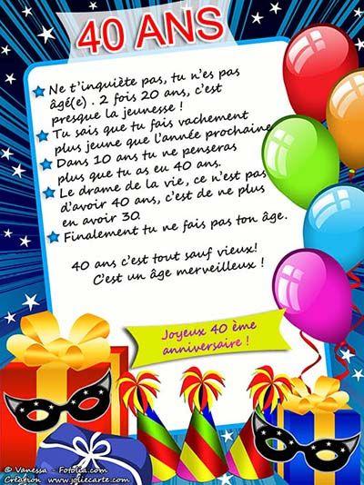 Message Pour Anniversaire 40 Ans.Carte D Anniversaire 40 Ans A Imprimer Carte