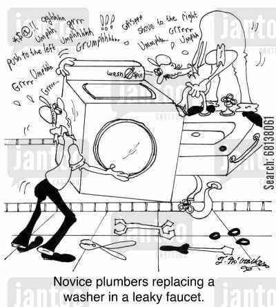 Novice plumbers replacing a washer in a leaky faucet. | Just for Fun ...