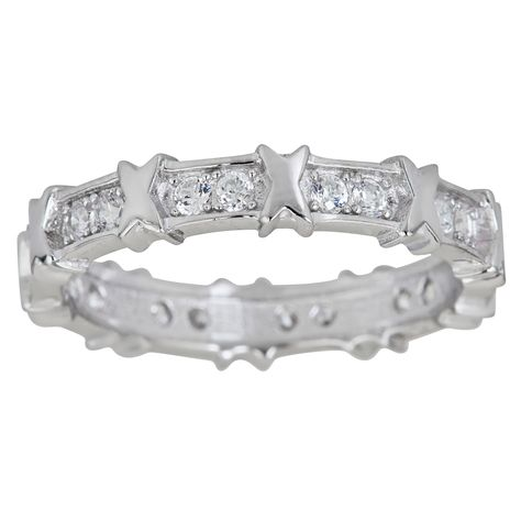 Decadence Sterling Silver Micropave Cubic Zirconia X Eternity Ring (Size 9), Women's