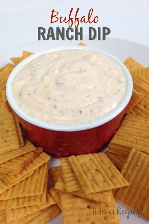 This easy Buffalo Ranch Dip from It Is a Keeper is perfect for parties!  Get the ingredients @walmart  #BigGameSnacks #ad