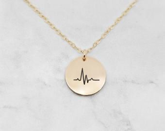 Delicate Petite Heartbeat Necklace,Heart beat necklaces,zigzag necklace,initial leaf necklace,cute necklace Bridesmaid Gift valued gift