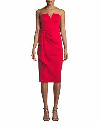 f882e9617b Aidan Mattox Designer Strapless Midi Dress w  Side Ruching