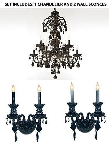 Set Of 3 1 Authentic All Crystal Chandelier Jet Black Crystal H30 X W28 And 2 Jet Black Go Black Crystal Chandelier Crystal Wall Sconces Black Chandelier
