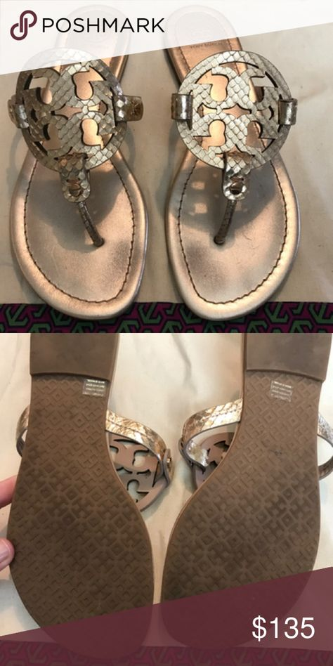 97a67f68bbbe23 Tory Burch Rose Gold Miller Sandal Sz. 9.5 Worn Once! Slight signs of wear  on sole. Sz. 9.5. No box but comes with dust bag. Please ask questions.