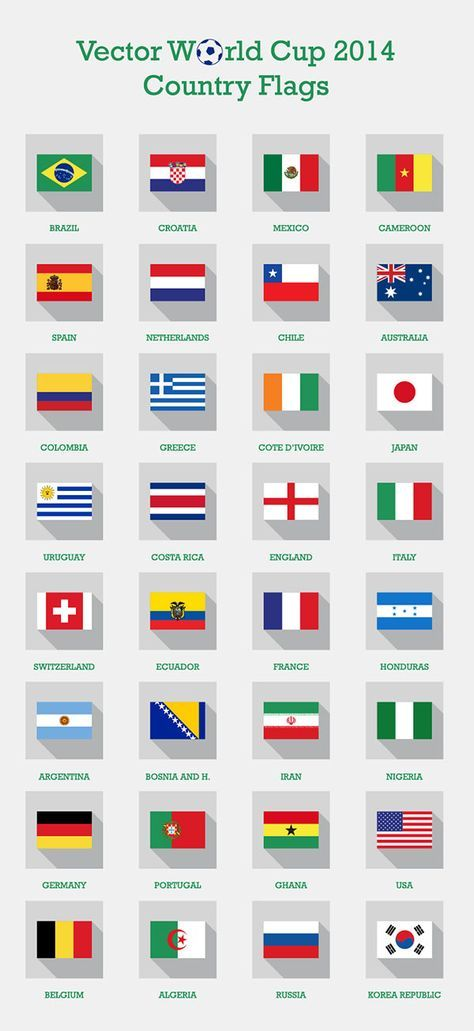 Free Vector Fifa World Cup 2014 Teams Country Flags Png Icons Eps Ai World Cup 2014 World Cup World Cup Teams