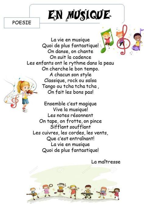 En Musique La Classe De Corinne Poesie Enfant Musique Et