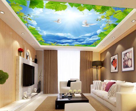 Plafond Tendu Paysage Le Ciel Bleu Avec Les Oiseaux Parquet