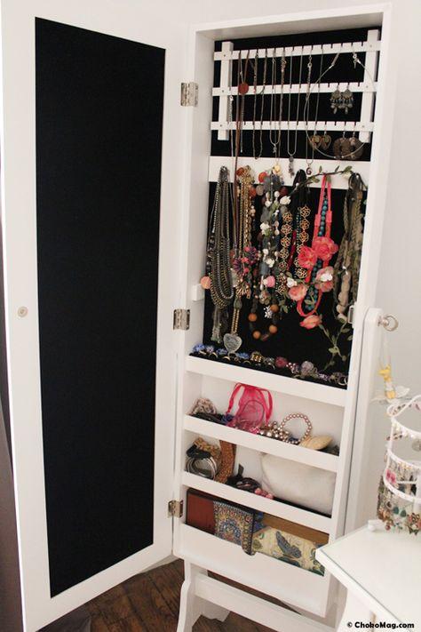 miroir range bijoux, boites de rangements   Maquillage Rangement ...