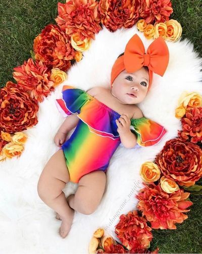 Color My World Rainbow Outfits Baby Girl Photography Cute Baby Girl Pictures Baby Photoshoot Girl