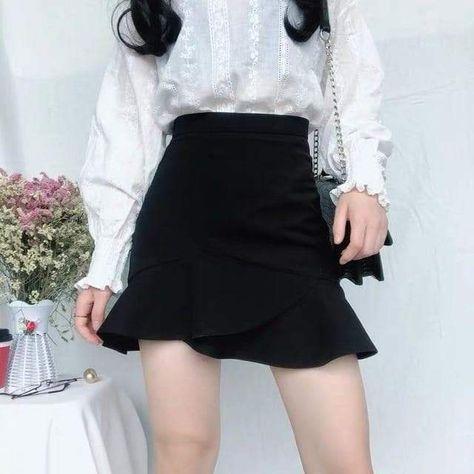 Ruffles Korean Style Hip Skirt - Black / 3XL