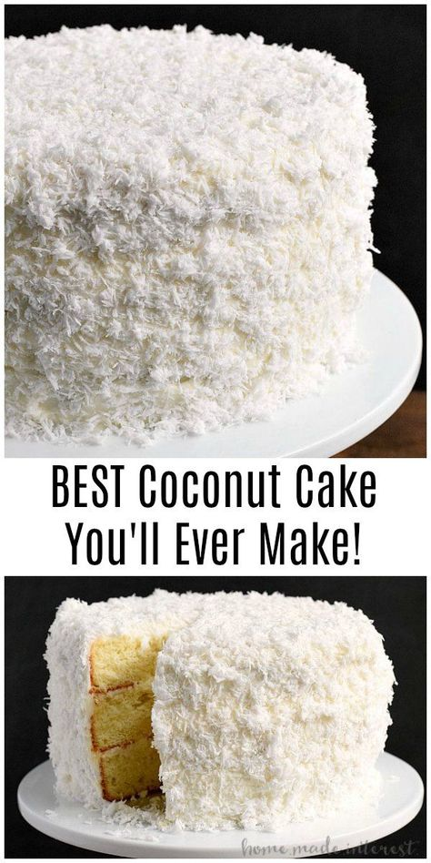 This easy coconut cake recipe is the BEST Coconut Cake You'll Ever Make! This coconut cake recipe starts with a box cake mix to make a moist and delicious cake with fresh coconut! This southern recipe makes a great Easter dessert, Thanksgiving dessert, or Kokos Desserts, Desserts Ostern, Coconut Desserts, Coconut Recipes, Köstliche Desserts, Dessert Recipes, Easter Recipes, Holiday Recipes, Homemade Coconut Cake Recipe
