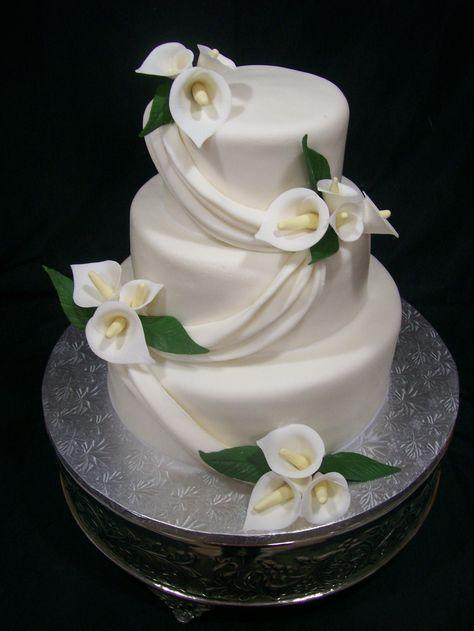 calla lily cake - except with purple calla lilies
