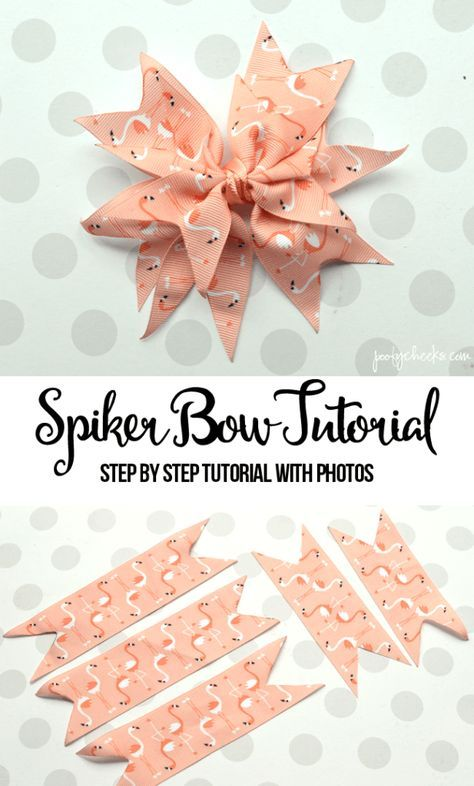 Spiker Bow Tutorial with Step by Step Photos These grosgrain ribbon bows are so easy and really cute. With a few supplies you can make all of your own bows with this photo step by step tutorial.Easy grosgrain ribbon spike bow tutorial with step by stEasy Ribbon Hair Bows, Diy Hair Bows, Diy Ribbon, Ribbon Crafts, Grosgrain Ribbon, Bows With Ribbon, Ribbon Flower, Flower Fabric, Making Ribbon Bows