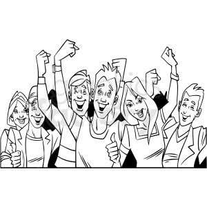 Black And White Cartoon Crowd Of People Vector Clipart Black And White Cartoon Clip Art Vector Clipart