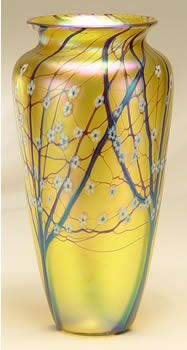Gold Hawthorne Vase by Orient and Flume. Orient and Flume is my favorite contemporary art glass maker.