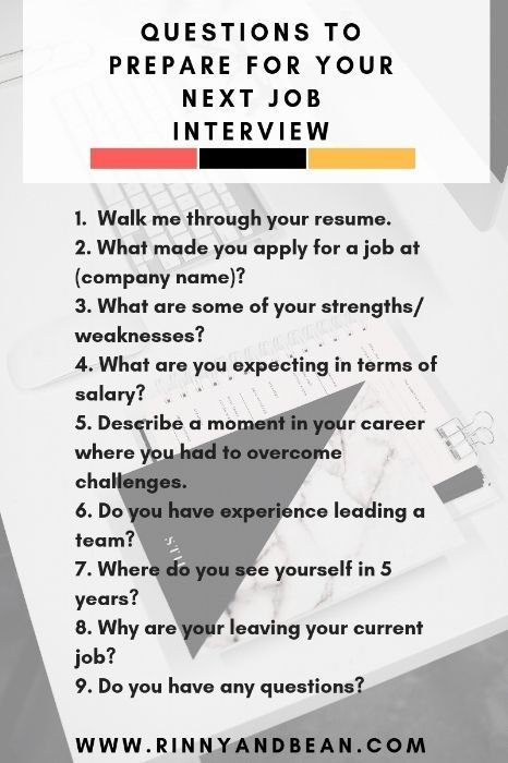 Questions To Prepare For Your Next Job Interview Career Tips Interview Questions In 2020 Job Interview Tips Job Interview Preparation Interview Advice