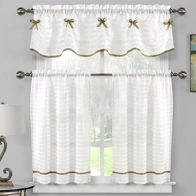 August Grove Isla 3 Piece Kitchen Curtain Set Colour White Taupe
