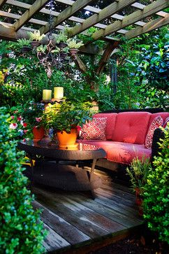 12 Beautiful Home Gardens. I love the one w the hidden couch & the chandelier hanging from pergola. Must do in my hidden garden!