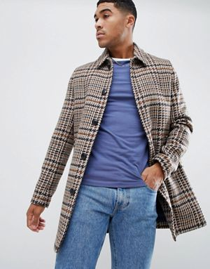 bb1d00ba151 ASOS DESIGN wool mix overcoat in brown check | seaner | Fashion ...