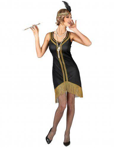ff20692ca633 Costume Charleston nero e oro a frange donna nel 2019 | moda anni 20 ...