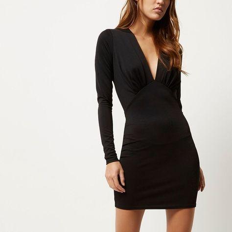 River Island Black plunge neck bodycon mini dress ($38