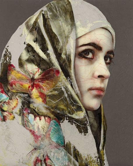 Lita Cabellut - Contemporary Artist - Figurative Painting - Secret behind the veil 16 - 2012 .