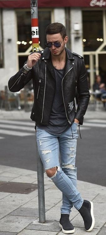 philippegazarstyle - Streetwear inspiration with a black t-shirt b… | Black  leather jacket outfit spring, Black leather jacket outfit, Leather jacket  outfit spring