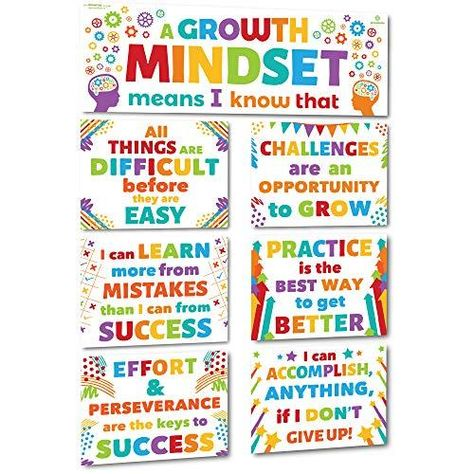 Sproutbrite Classroom Decoration Banner Poster Pack - Growth Mindset Wall Display - Default