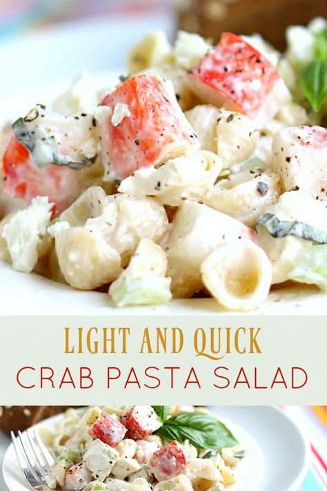 A light yet satisfying lunch or dinner, low in calories and not too heavy, pasta crab salad won't leave you feeling hungry. Easy recipe using imitation crab. # Easy Recipes fish Light and Quick Crab Pasta Salad Sea Food Salad Recipes, Seafood Recipes, Cooking Recipes, Healthy Recipes, Easy Crab Meat Recipes, Cooking Crab, Oven Recipes, Vegetarian Cooking, Easy Cooking