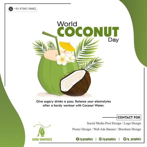 Give sugary drinks a pass. Balance your electrolytes after a hardy workout with Coconut Water. #gurugraphics #guru #coconutday #worldcoconutday #like4liek #follow4follow