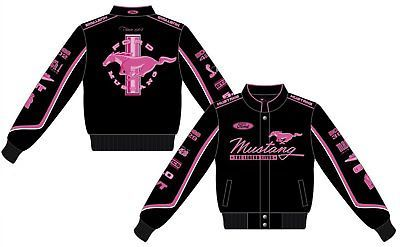 Details About Ford Mustang Jacket Ladies Black Twill Pink
