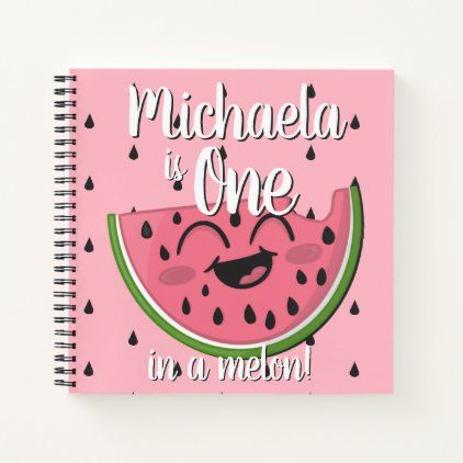 One In A Melon Watermelon First Birthday Guest Notebook Zazzle Com In 2020 One In A Melon Cute Watermelon First Birthdays