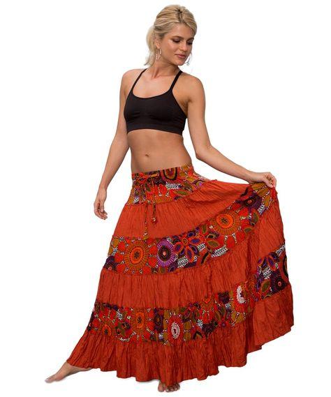 falda larga etnica bohemia hippy algodon LONG BOHEMIAN ETHNIC COTTON SKIRT