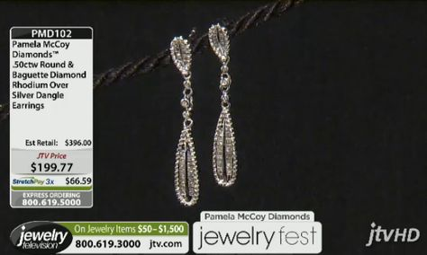 Perfectly matched Baguette Diamond Earrings! Take them home for 3 easy payments of 66.59! PMD102 Pamela Mccoy Diamonds(Tm) .50ctw Round & Baguette Diamond Rhodium Over Silver Dangle Earrings ERV: $396.00 JTV Price: $199.77