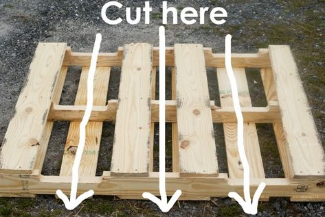 One pallet should make 4 shelves. You will be cutting it down into fourths. The back of your pallet will look like this. And your cuts will be like so: According to meandmadeline.com: Next, you'll need to measure the inside of the bottoms of your newly made shelves so that you can cut 2×4's to …