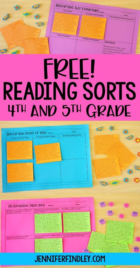 Free reading sorts for grades with idea for implementation! These make perfe… Free reading sorts for grades with idea for implementation! These make perfect reading centers, stations, and independent practice reading activiites. Teaching 5th Grade, 6th Grade Reading, 5th Grade Classroom, Reading Street 4th Grade, 5th Grade Writing, Middle School Reading, Future Classroom, Classroom Decor, Reading Fluency