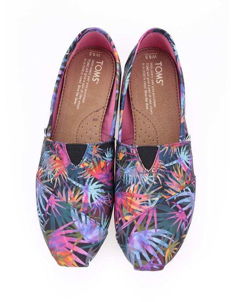 a2854d1c4a3 Toms - Černé dámské loafers s barevnými palmami Classic - 1