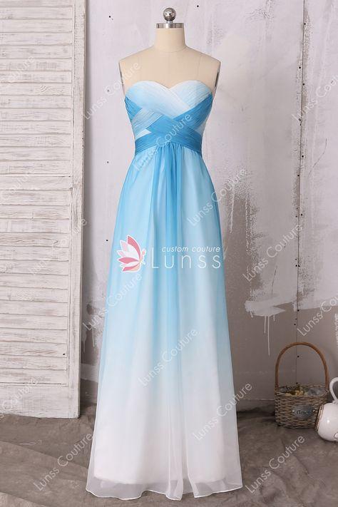 917e18333ce blue to white chiffon criss cross pleated strapless A line long bridesmaid  dress