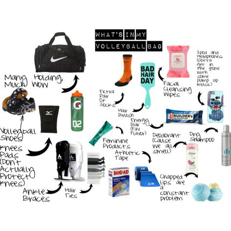 What's In My Volleyball Bag by superman0119 on Polyvore featuring Asics, NIKE, Sony, Burt's Bees, Eos, Dove, Umberto and Mizuno