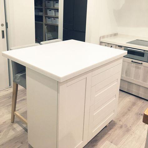 キッチン 人造大理石 メトード アイランド作業台 Ikeaのインテリア実例
