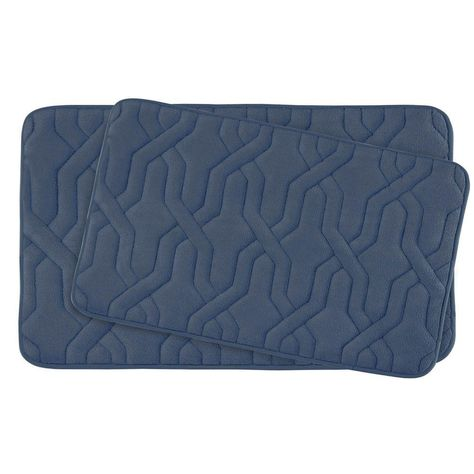 Bouncecomfort Drona Dusty Blue Memory Foam 2 Piece Bath Mat Set