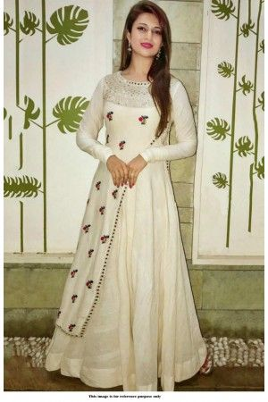 price 750 Elegant Gota Aari Work Long Fancy Kurta Color : Off White Fabric : Rayon Type : Stitched Style : Embroidered Within business days Free and Easy return-No question asked A very Fancy and Elegant Kurta suited for all your outings and Parties
