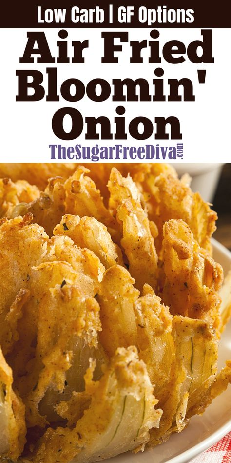 4 Points About Vintage And Standard Elizabethan Cooking Recipes! This Air Fried Blooming Onion Recipe Is A Great Alternative To Usual Oil Fried Version. Make This Yummy Appetizer Recipe Low Carb Or Gluten Free With The Options In The Recipe. Air Frier Recipes, Air Fryer Oven Recipes, Air Fryer Dinner Recipes, Air Fryer Recipes Gluten Free, Yummy Appetizers, Appetizer Recipes, Blooming Onion Recipes, Recipe For Blooming Onion In Air Fryer, Recipe With Onion