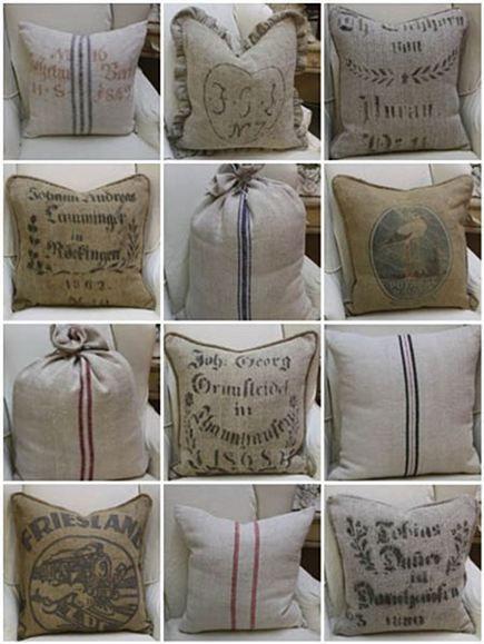 were to get grain sack french linen fabrics, crafts, reupholster Burlap Sacks, Burlap Pillows, Throw Pillows, Hessian, Accent Pillows, Burlap Projects, Burlap Crafts, Drop Cloth Projects, Fabric Crafts