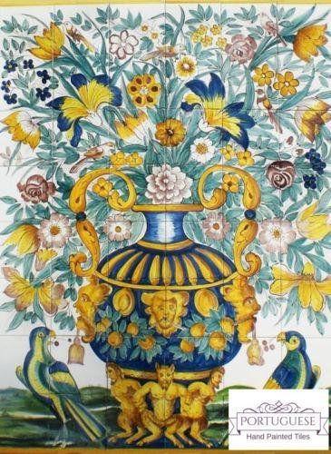 Sensational Flower Vase Hand Painted Ceramic Tile Mural Backsplash Download Free Architecture Designs Xoliawazosbritishbridgeorg